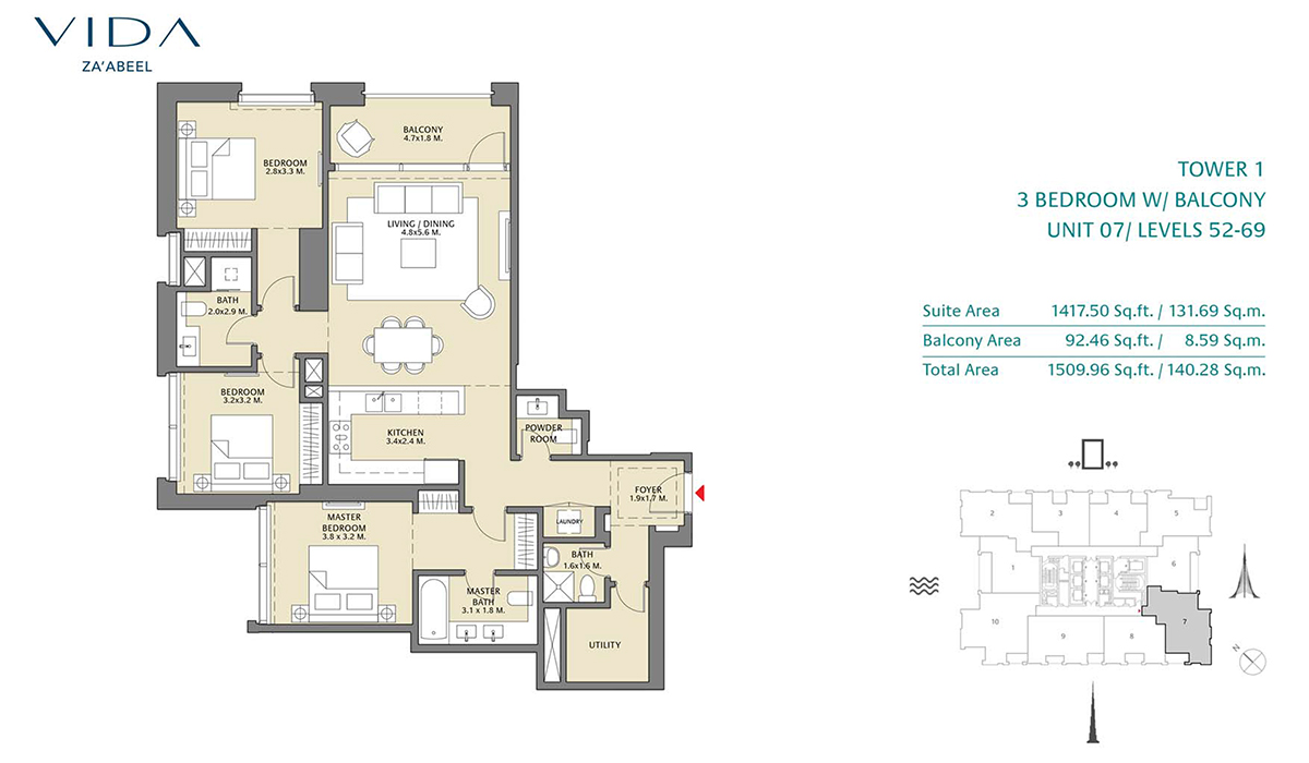 3 Bedroom Balcony Unit 07 Level 52-69 Size 1509.96 sq.ft