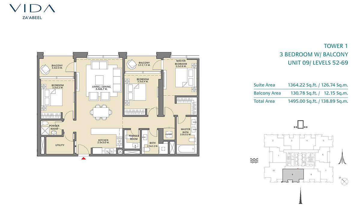 3 Bedroom Balcony Unit 9 Level 52-69 Size 1495 sq.ft
