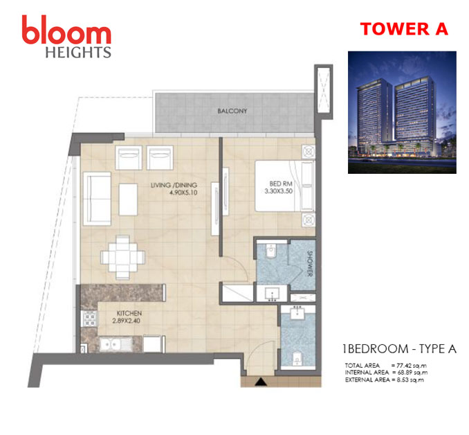 Tower-A 1 Bedroom Type -A
