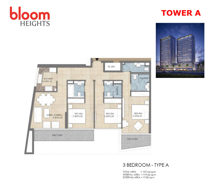 Tower-A  3 Bedroom  Type-A