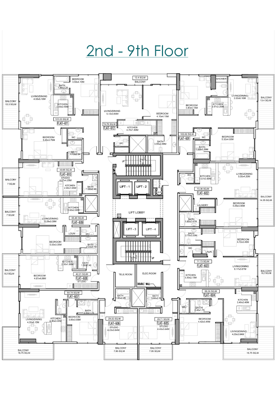 Floor Plan 2nd - 9th Floor