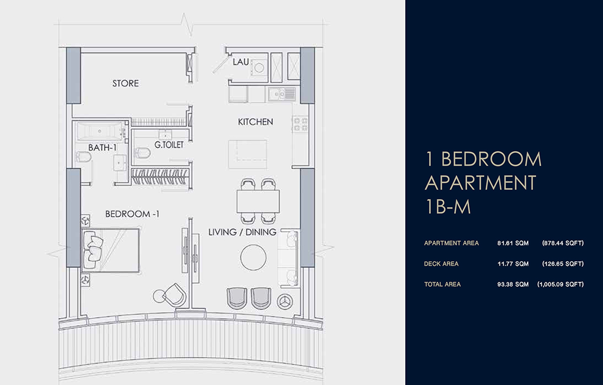 1 BEDROOM APARTMENT 1B-M