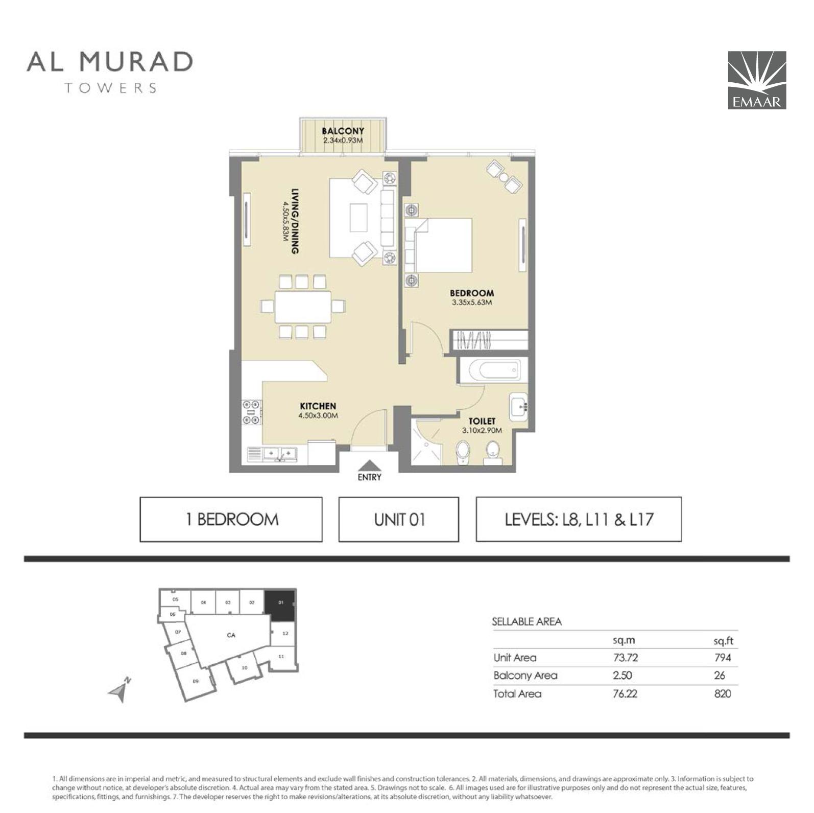 1 Bedroom Unit-01 L8, L11 & L17