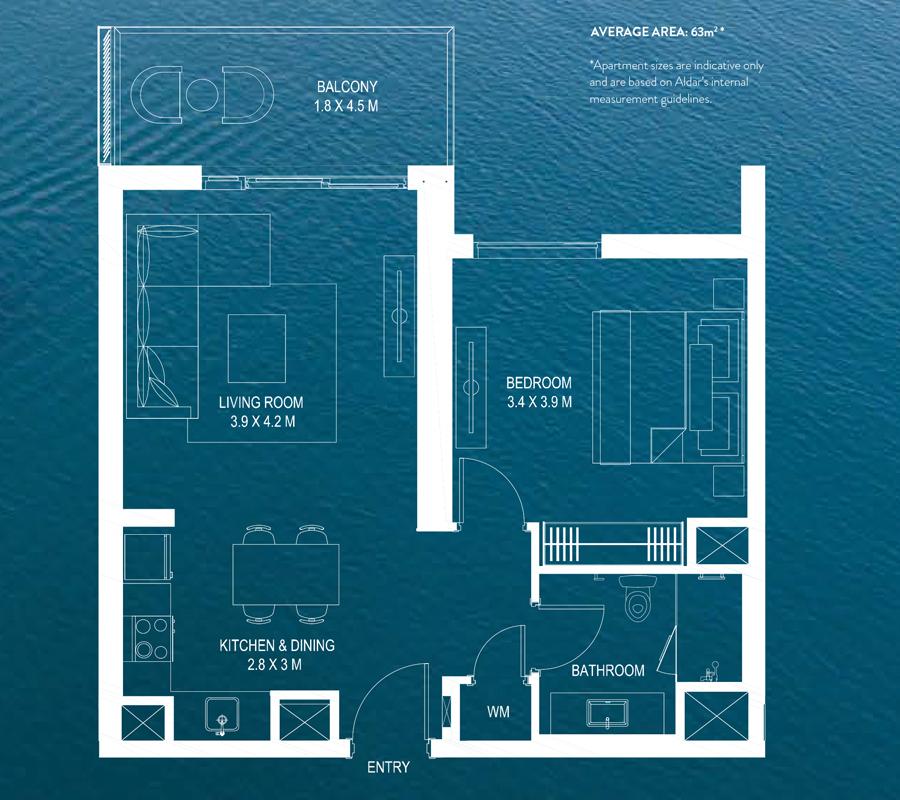 1 Bedroom Average Area 63m² *