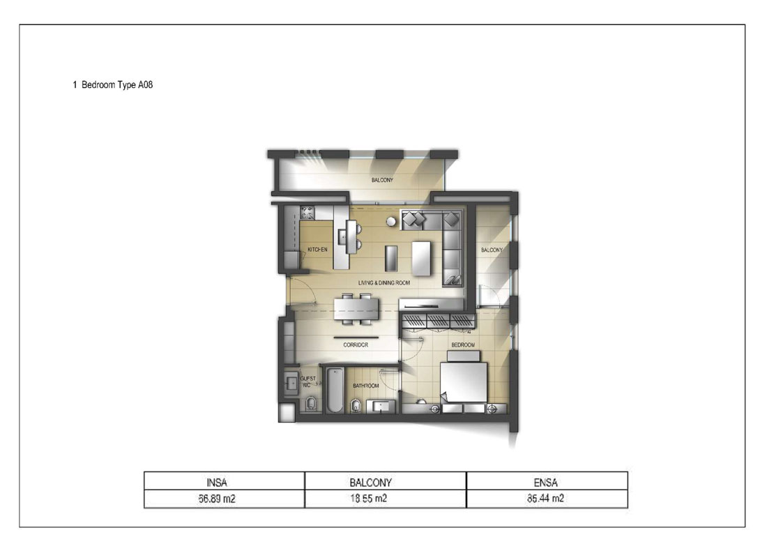 1 Bedroom Type A08 Size 85.44 sq.mtr