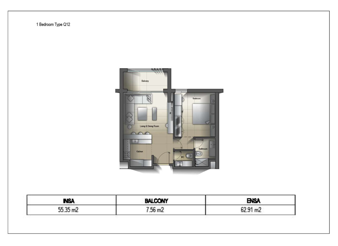 1 Bedroom Type Q12 Size 62.91 Sq.mtr