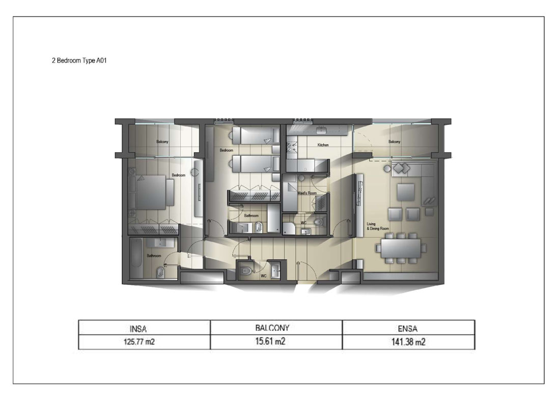 2 Bedroom Type A01 Size 141.38 sq.mtr