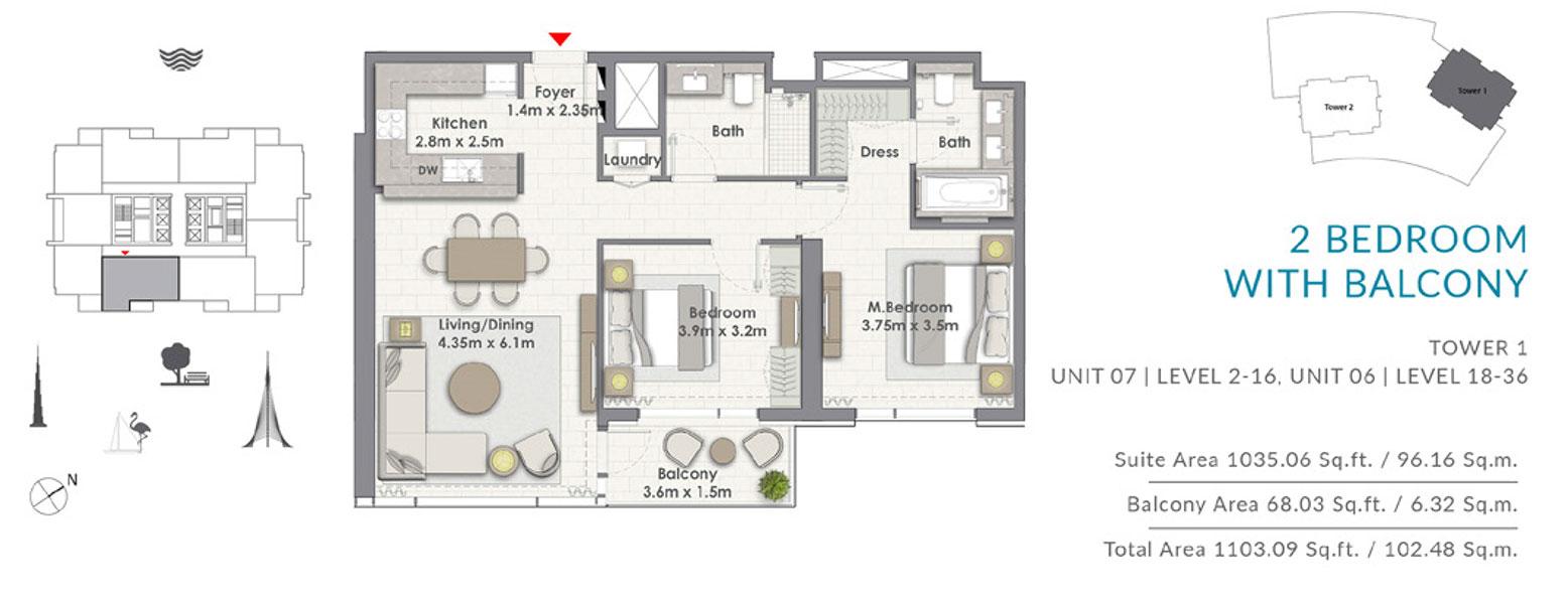 2BR-Balcony-T1-U7-L-2-16-U6-L-18-36