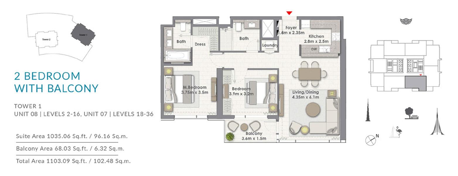 2BR-Balcony-T1-U8-L-2-16-U7-L-18-36
