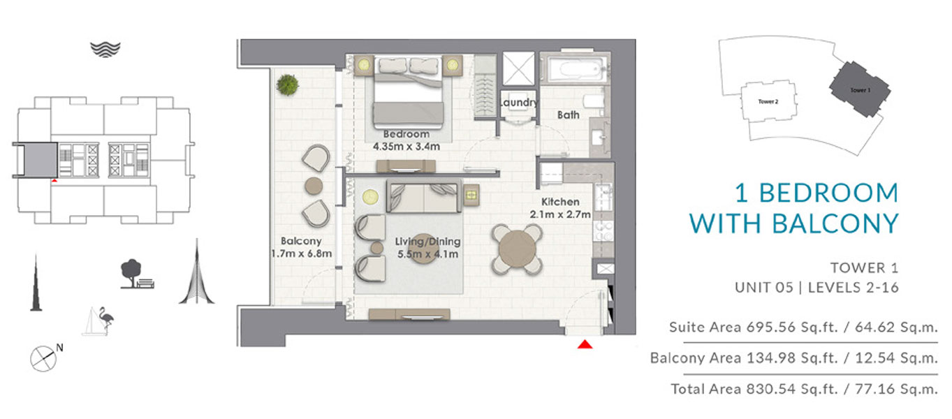 1BR-Balcony-T1-U5-L-2-16