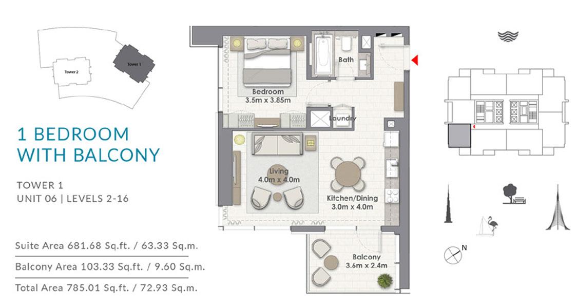 1BR-Balcony-T1-U6-L-2-16