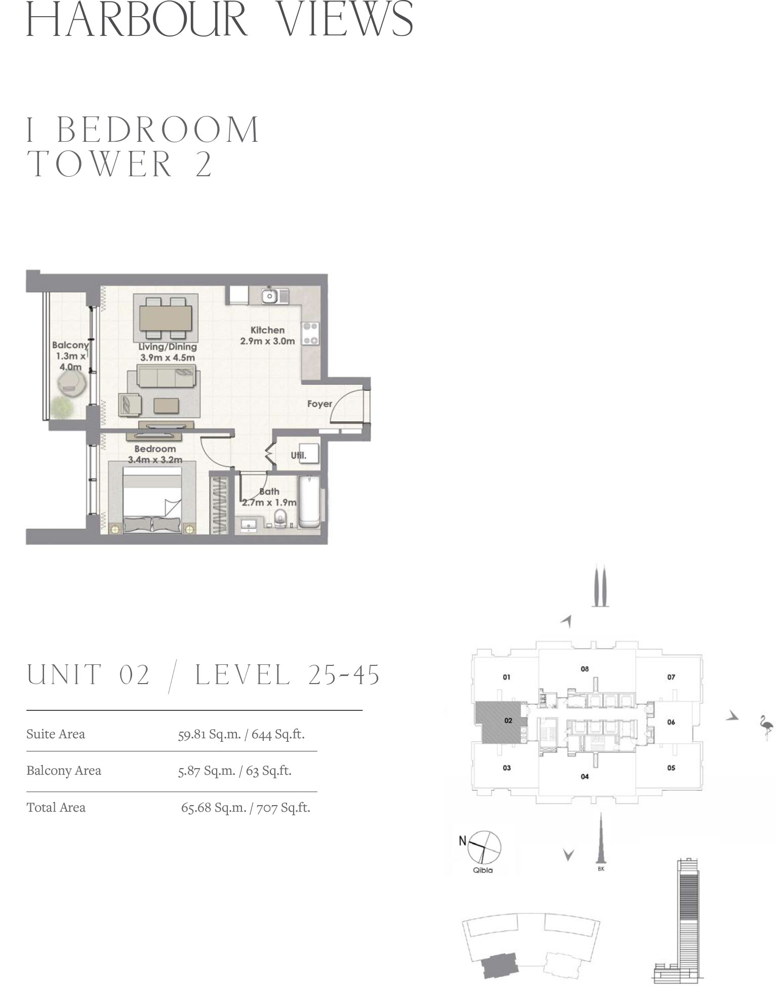 1 Bedroom Tower 2, Unit 02/Level 25-45