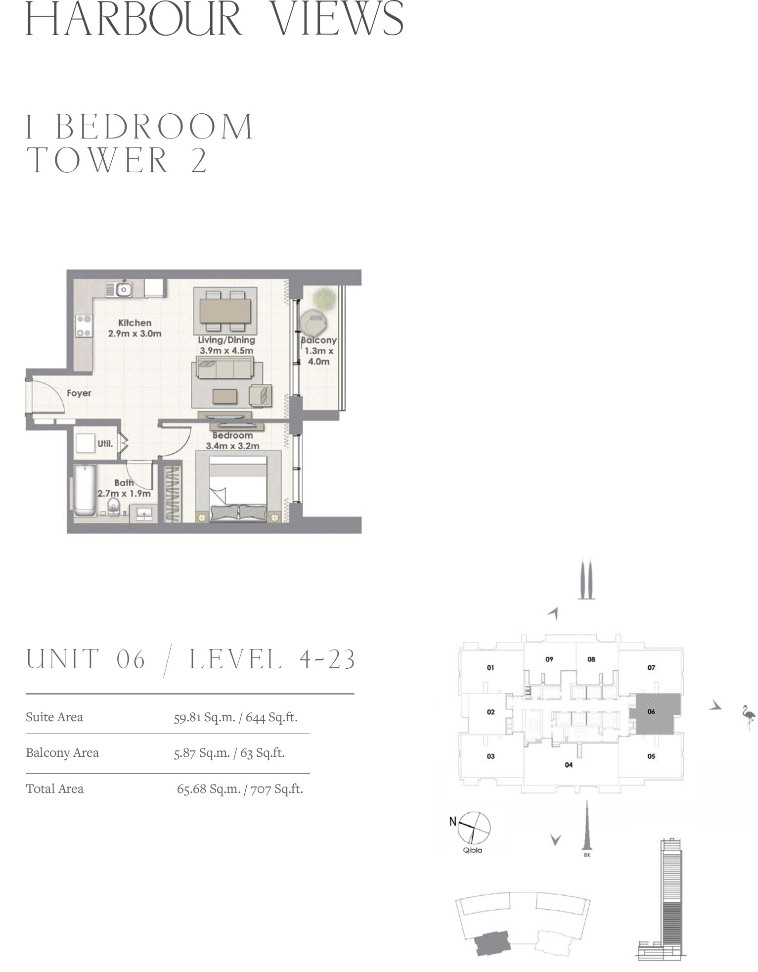 1 Bedroom Tower 2, Unit 06/Level 4-23