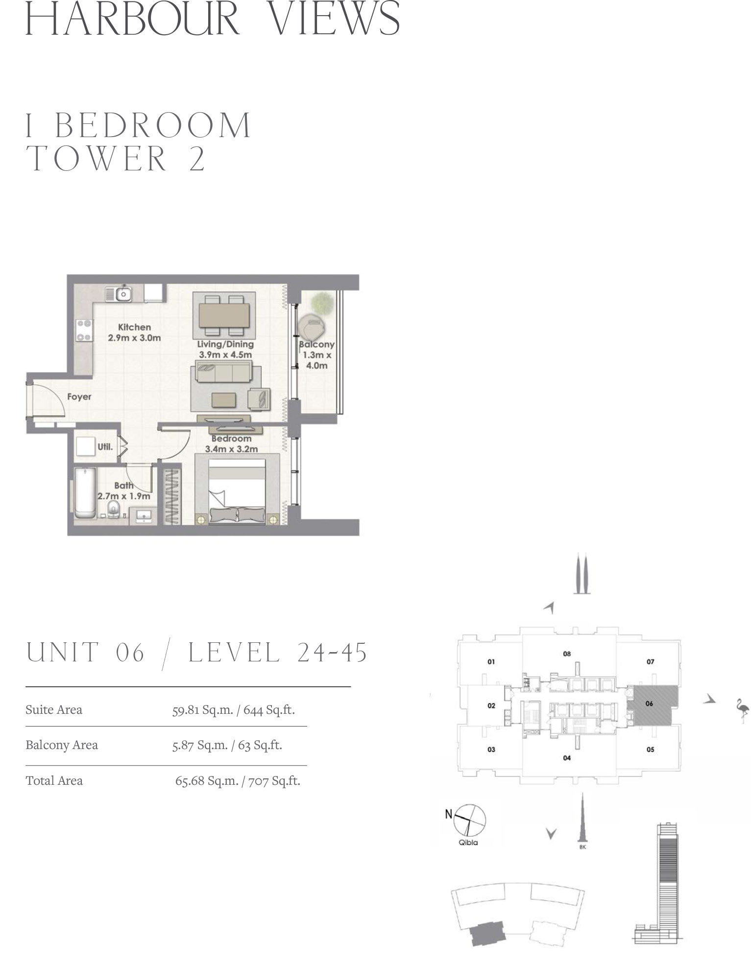 1 Bedroom Tower 2, Unit 06/Level 24-45