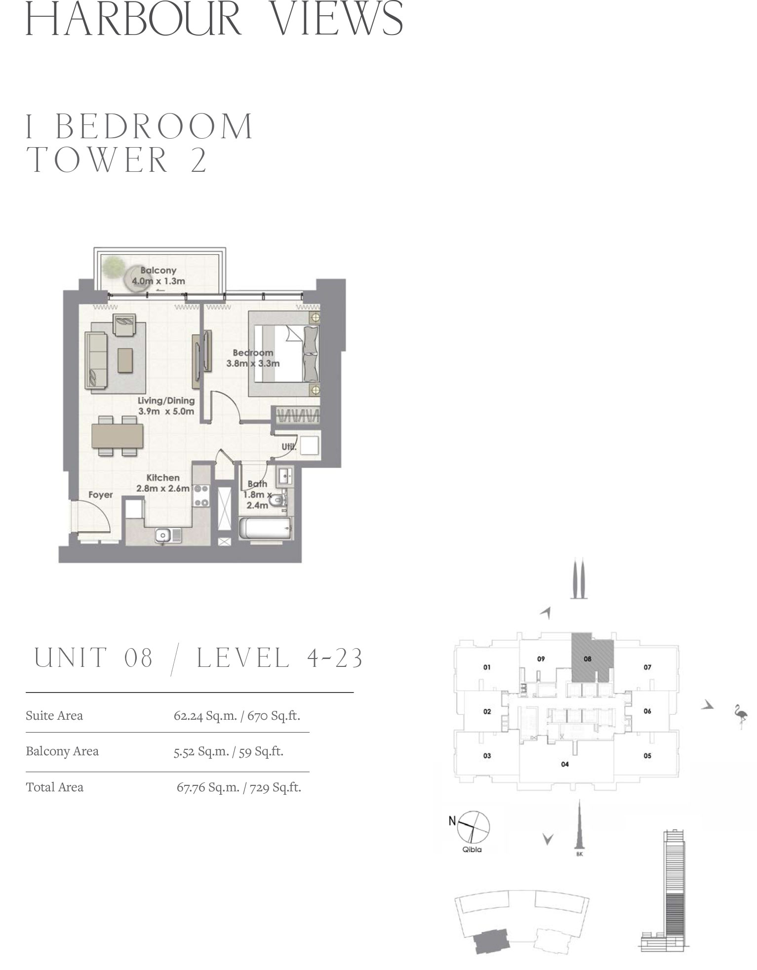 1 Bedroom Tower 2, Unit 08/Level 4-23
