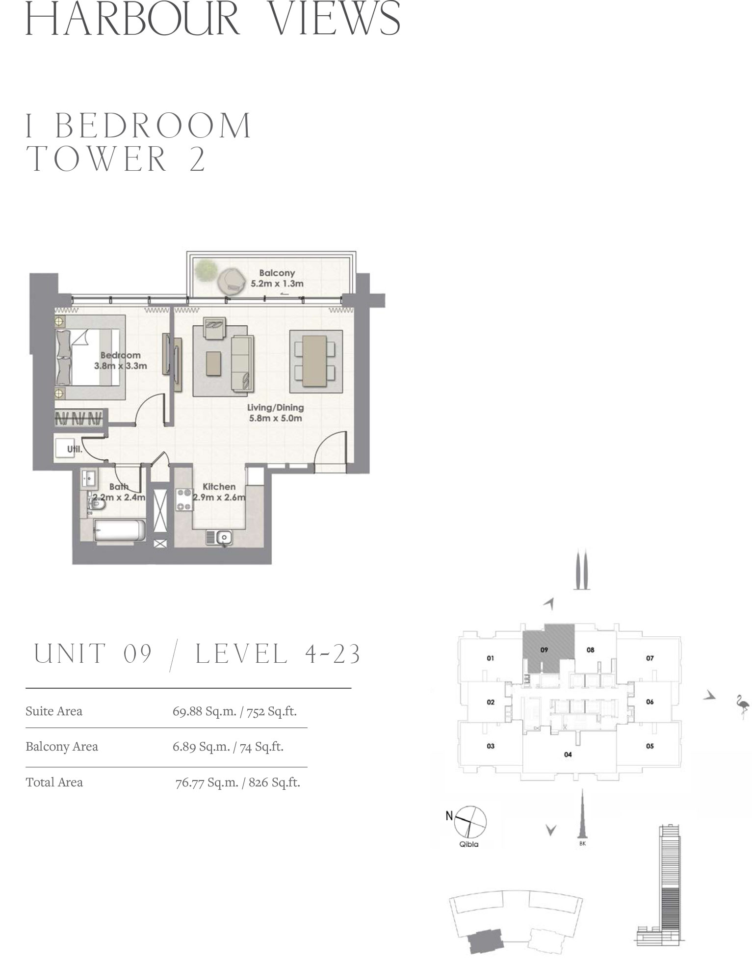 1 Bedroom Tower 2, Unit 09/Level 4-23