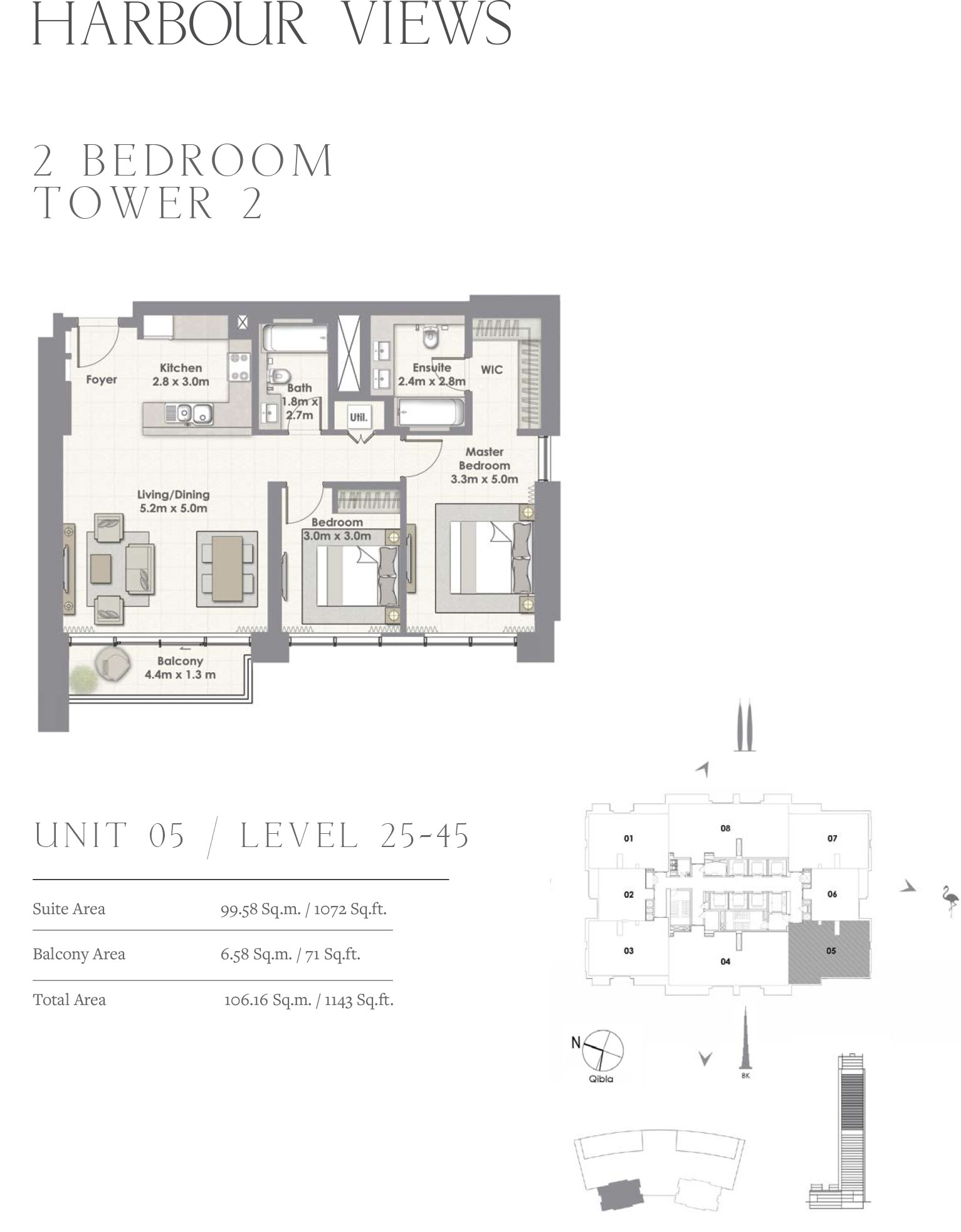 2 Bedroom Tower 2, Unit 05/Level 25-45