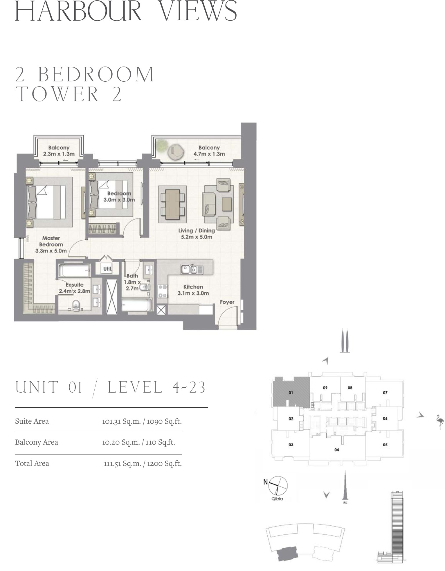 2 Bedroom Tower 2, Unit 01/Level 4-23