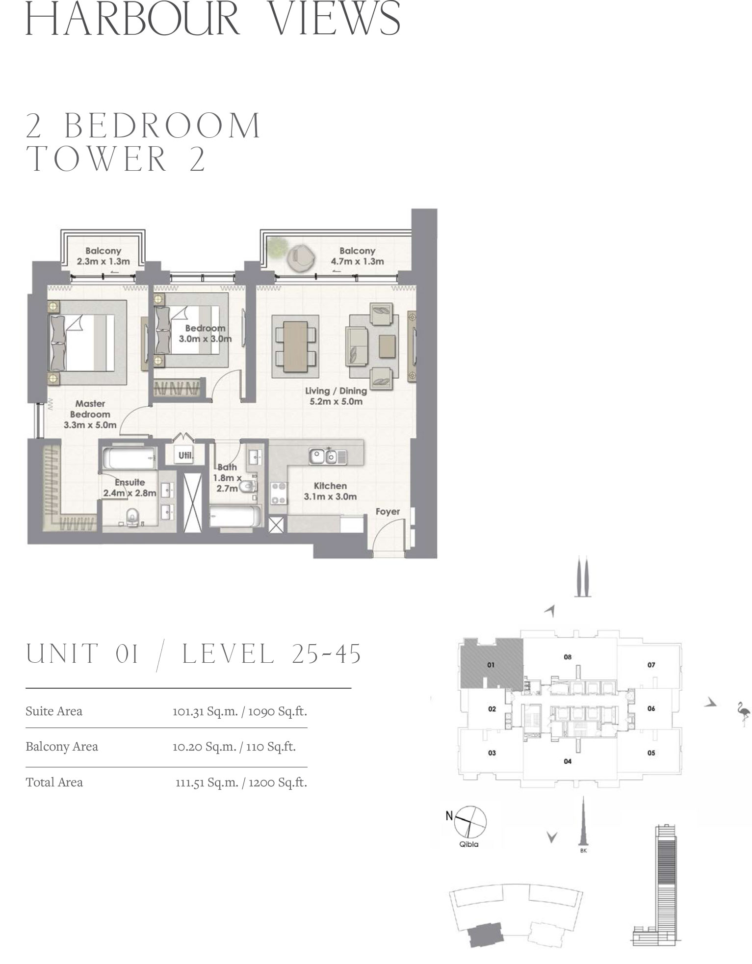 2 Bedroom Tower 2, Unit 01/Level 25-45
