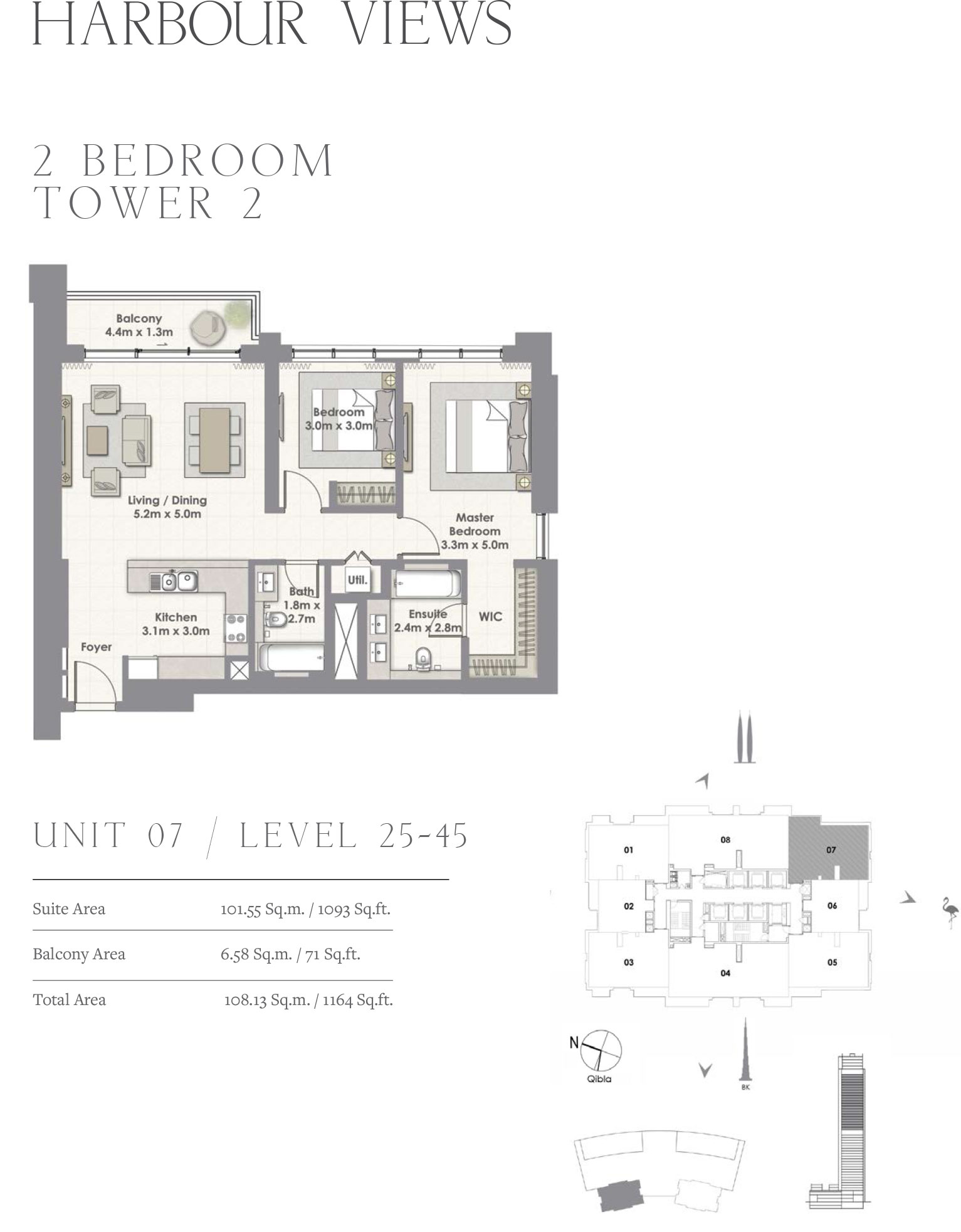 2 Bedroom Tower 2, Unit 07/Level 25-45