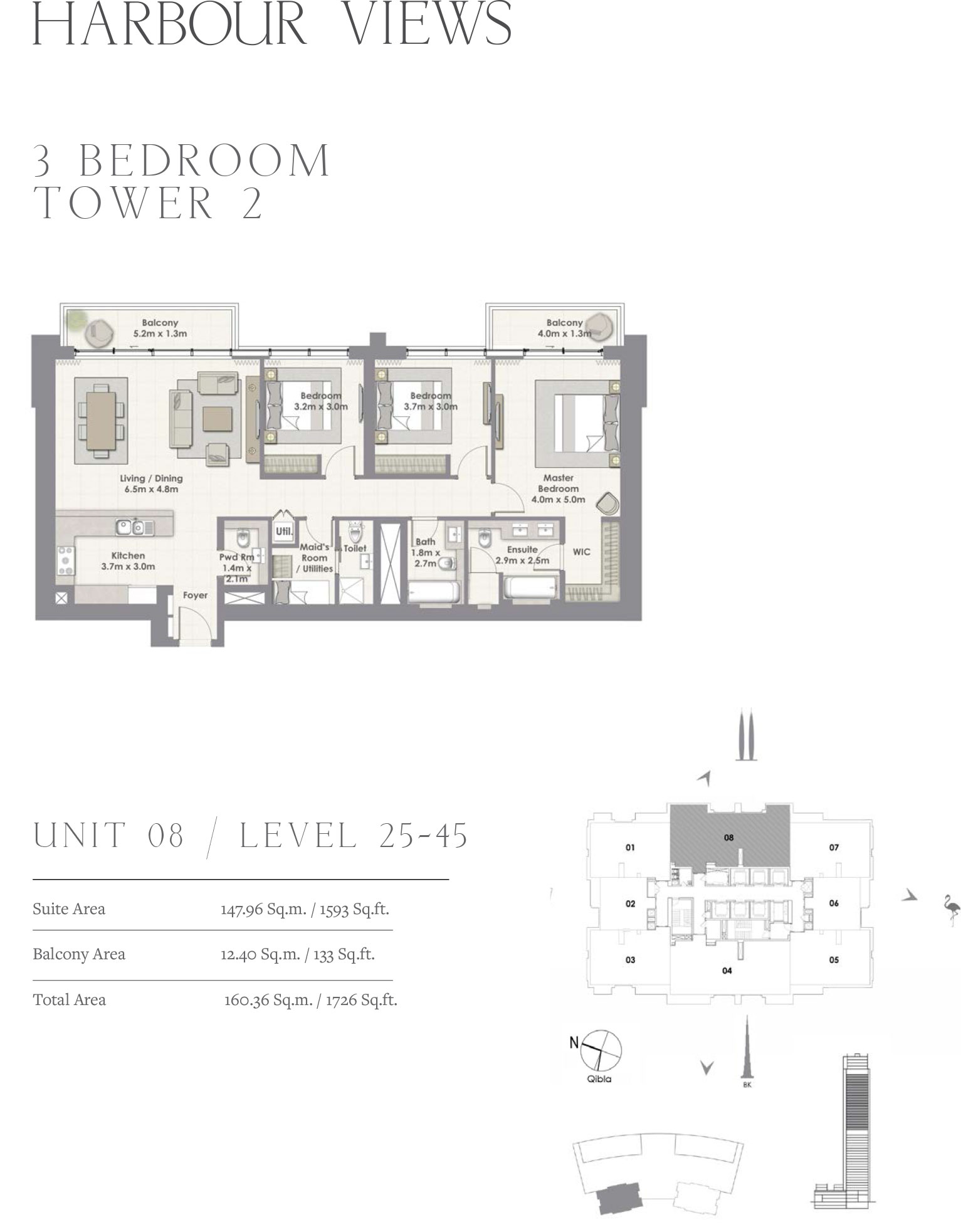 3 Bedroom Tower 2, Unit 08/Level 25-45