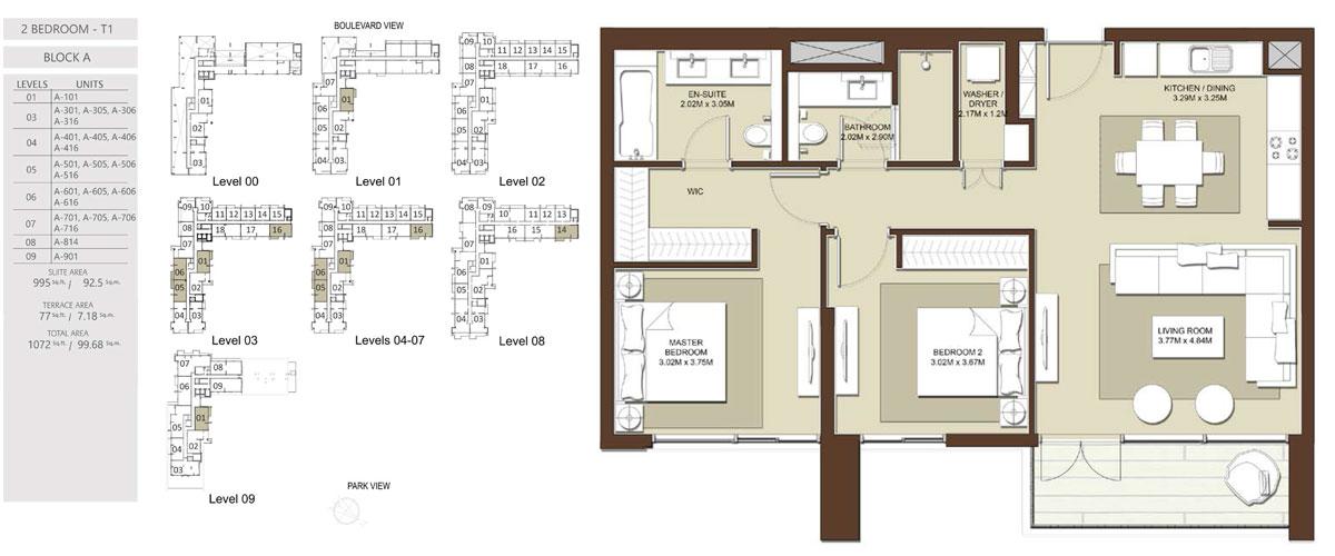 3 Bedroom-Total-Area-1072 sq.ft