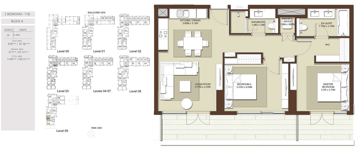 3 Bedroom-Total-Area-1149 sq.ft