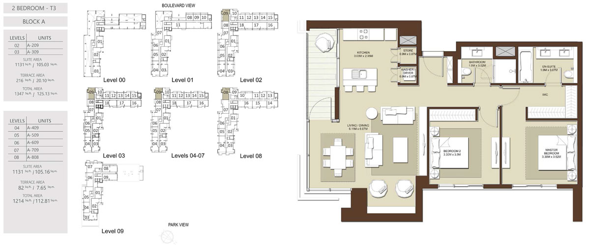 3 Bedroom-Total-Area-1214 sq.ft