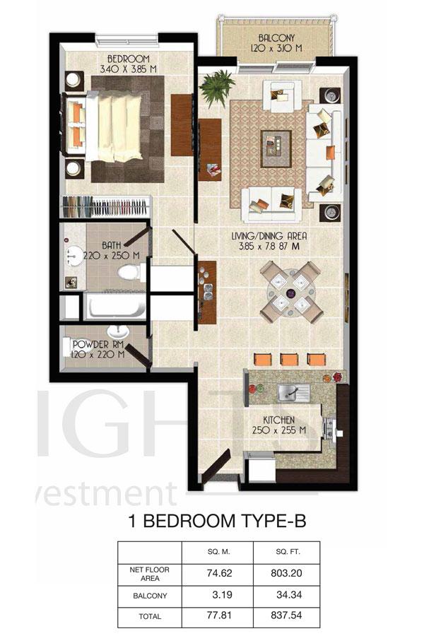 1 Bedroom-Total-Area-837.54 sq.ft