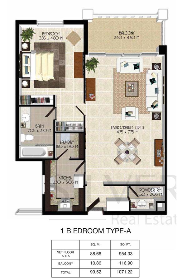 1 Bedroom-Total-Area-1071.22-Sq.ft