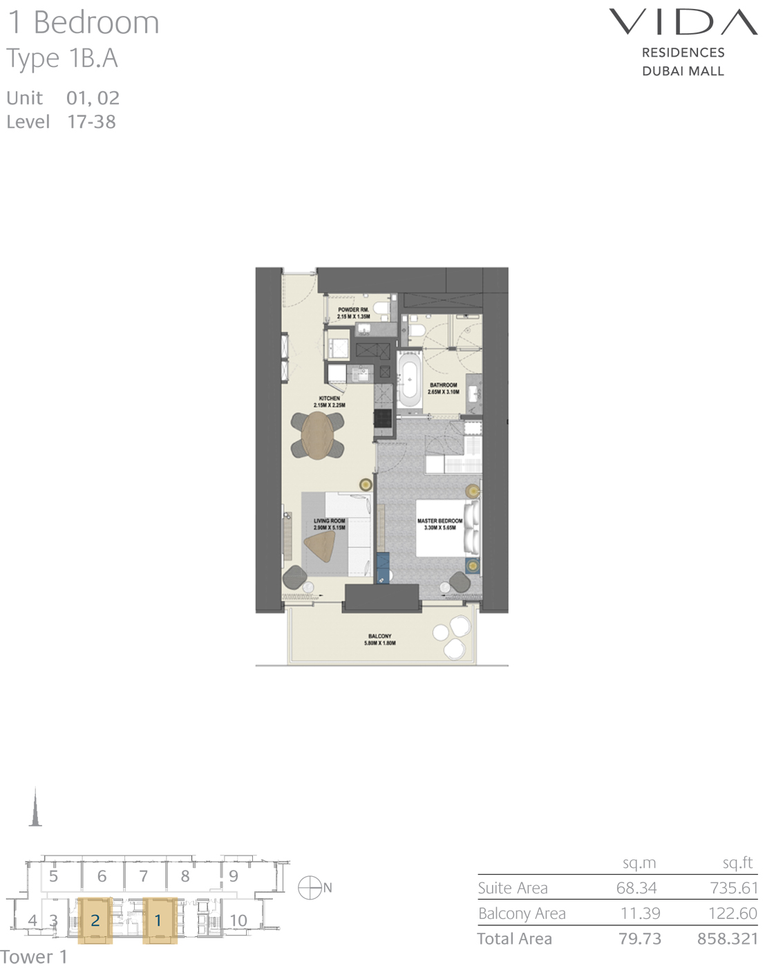 1 Bedroom Type 1B.A unit 01,02 level 17-38