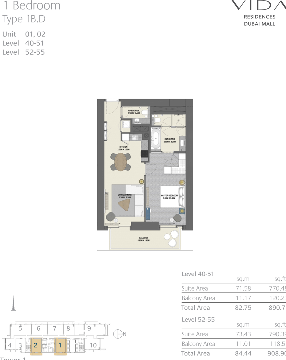 1 Bedroom Type 1B.D Unit 01,02 Level 40-51 Level 52-55