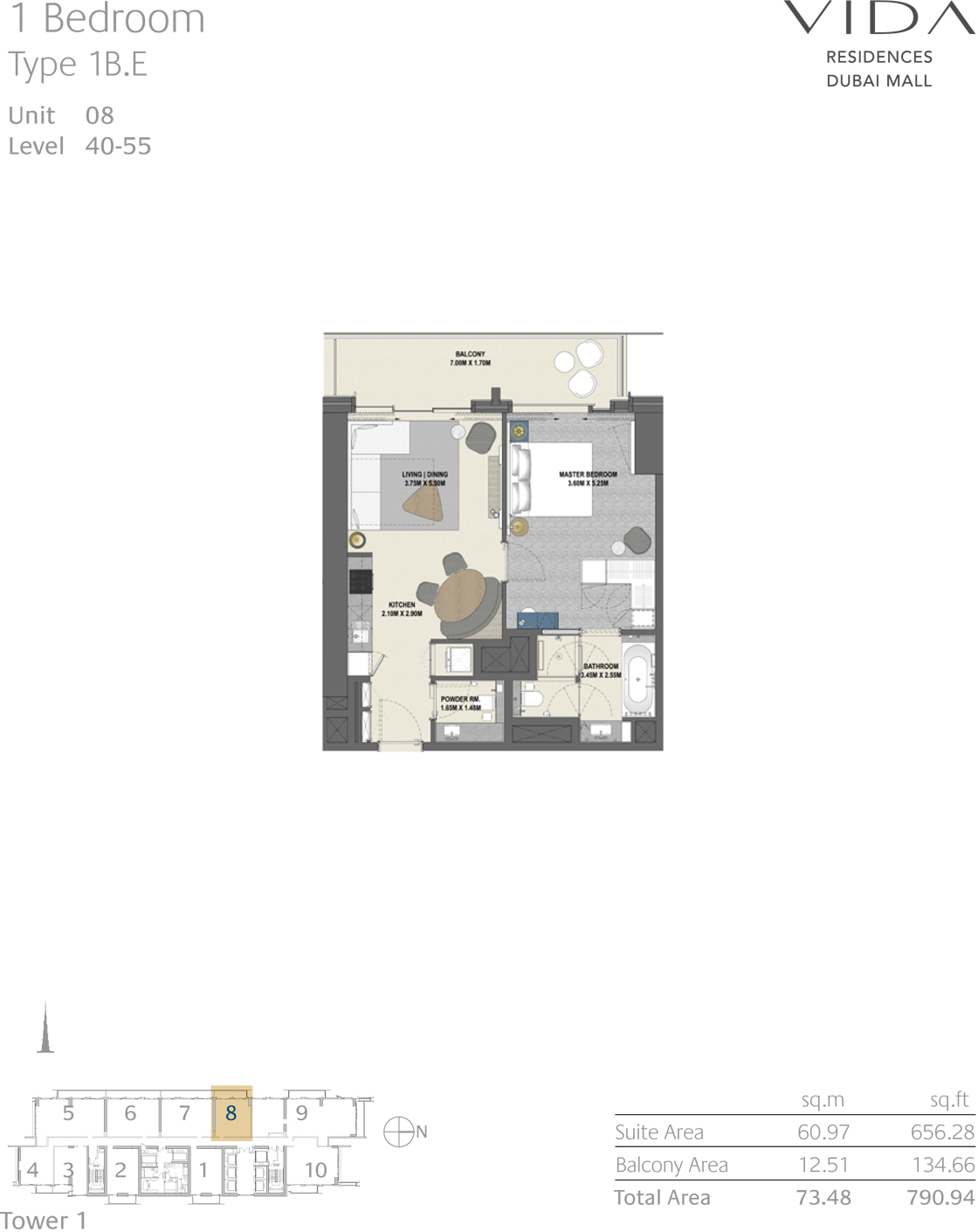 1 Bedroom Type 1B.E Unit 08 Level 40-55