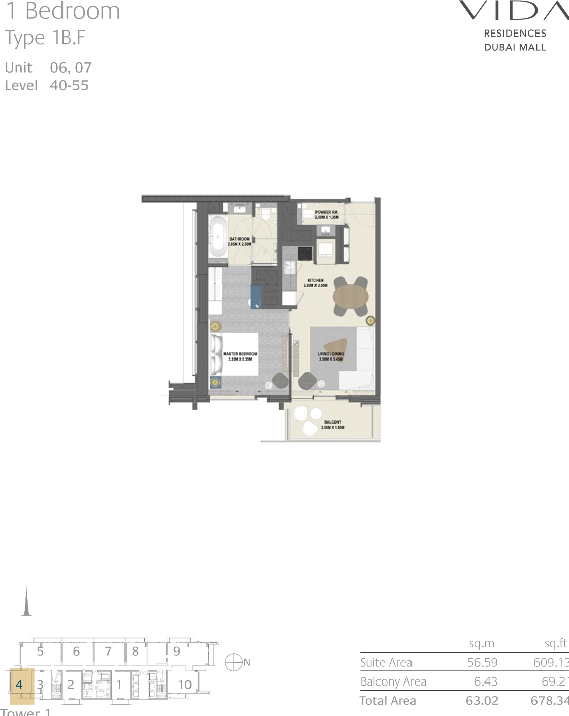 1 Bedroom Type 1B.F Unit 06,07 Level 40-55