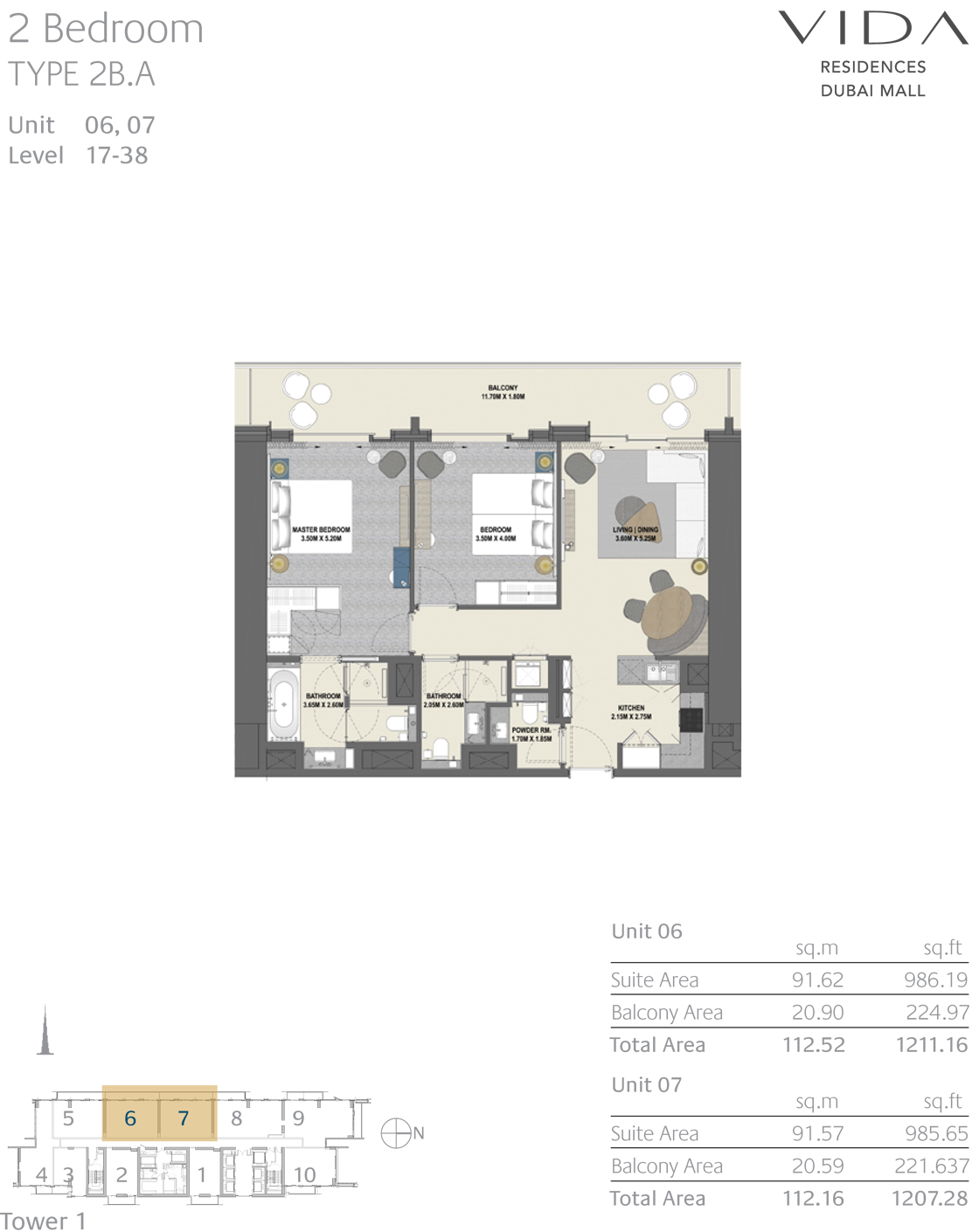 2 Bedroom Type 2B.A Unit 06,07 Level 17-38