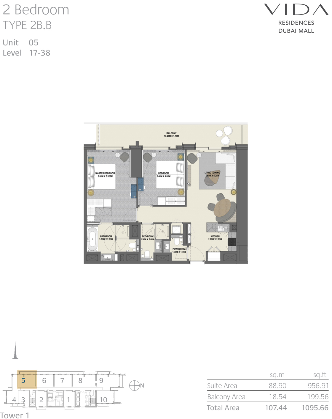 2 Bedroom Type 2B.B Unit 05 Level 17-38