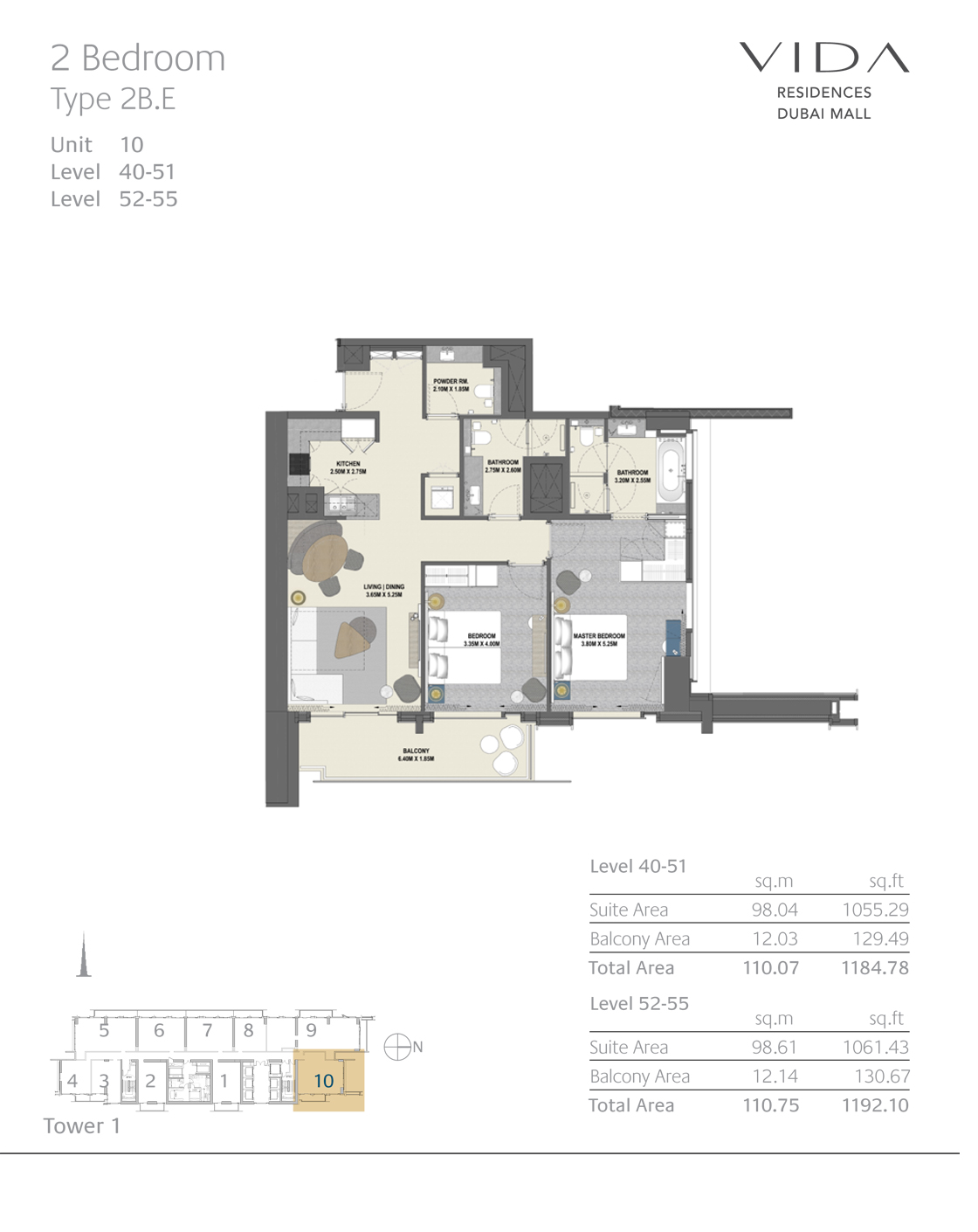2 Bedroom Type 2B.E Unit 10 Level 40-51 Level 52-55