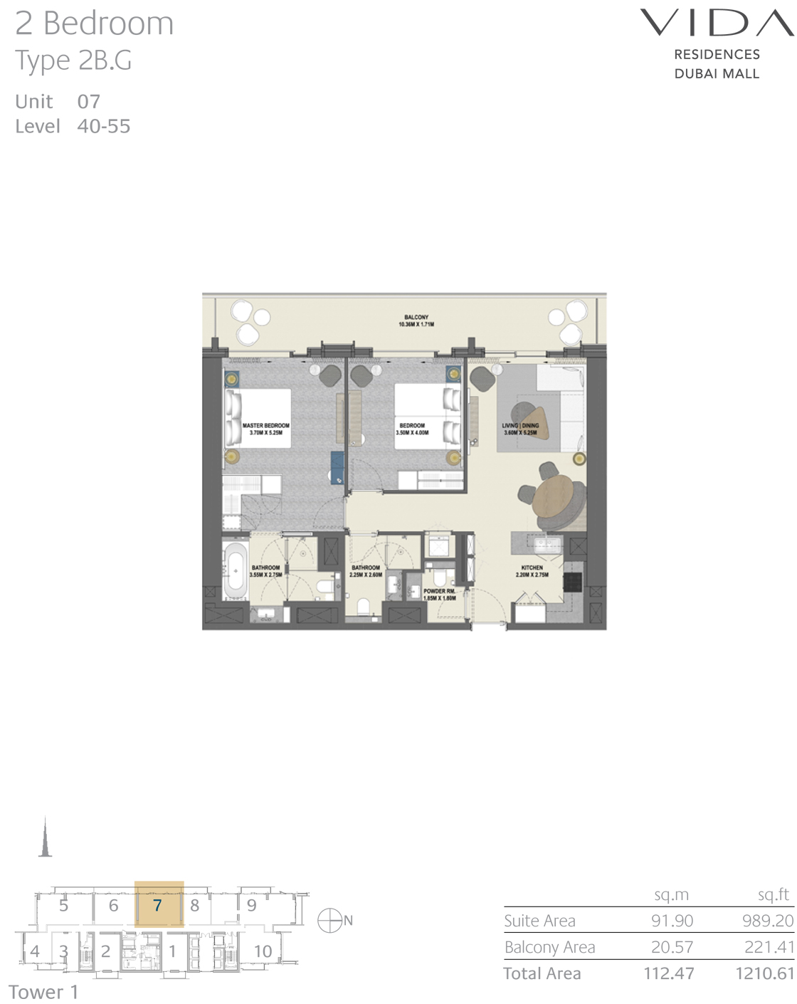 2 Bedroom Type 2B.G Unit 07 Level 40-55
