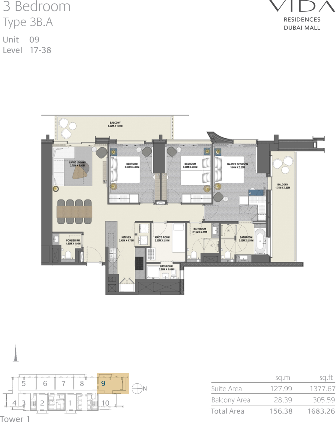 3 Bedroom Type 3B.A Unit 09 Level 17-38