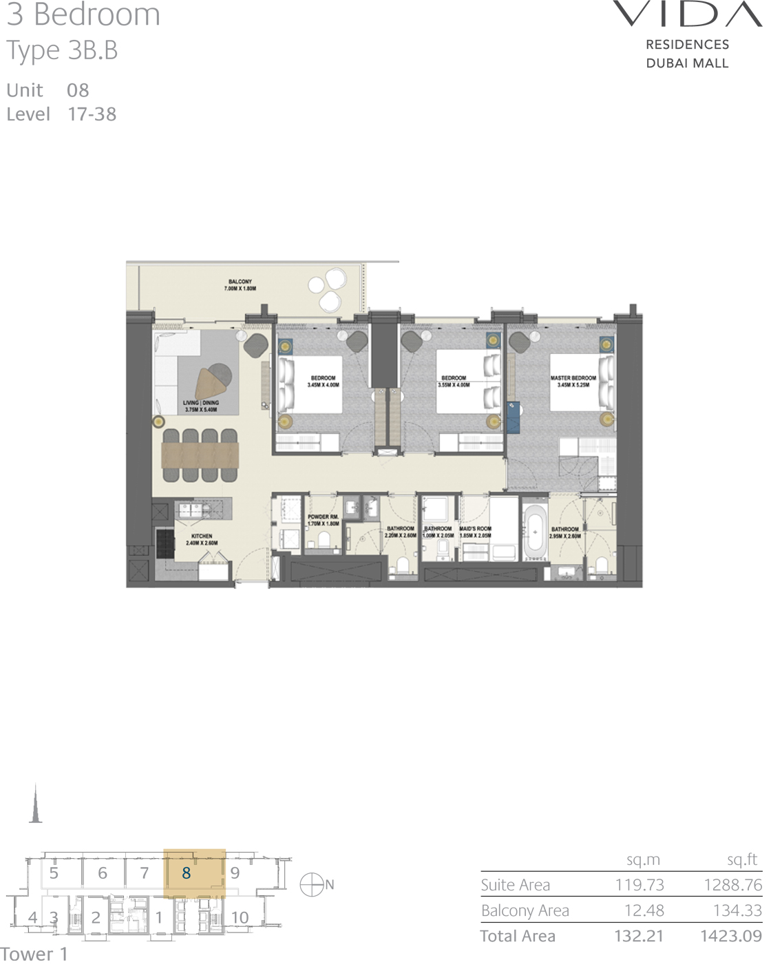 3 Bedroom Type 3B.B Unit 08 Level 17-38