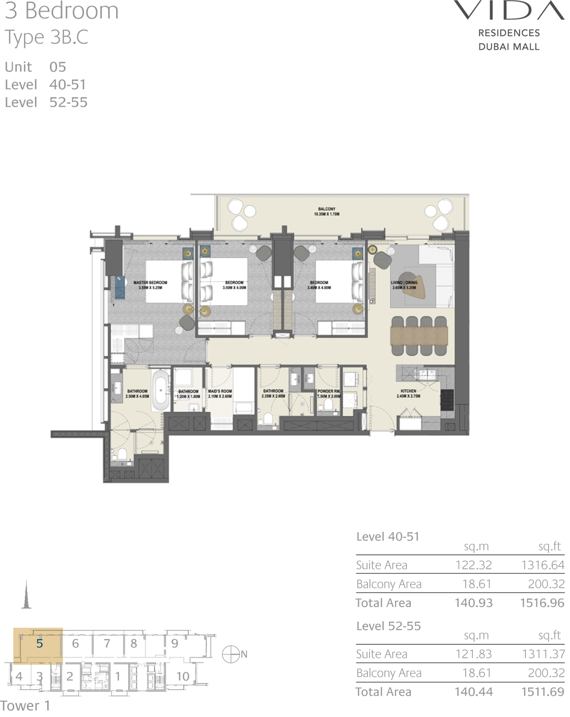 3 Bedroom Type 3B.C Unit 05 Level 40-51 Level 52-55