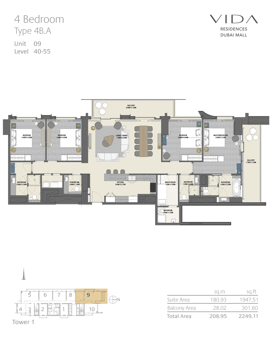 4 Bedroom Type 4B.A Unit 09 Level 40-55