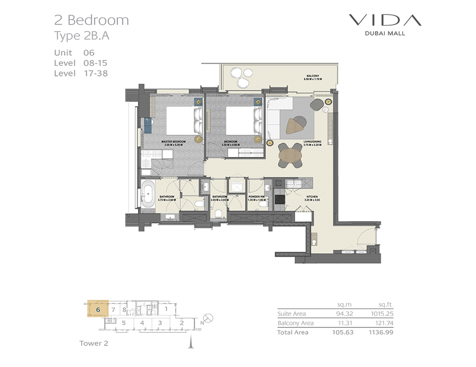 2 Bedroom Type 2B.A Unit 06 Level : 08-15 Level : 17-38