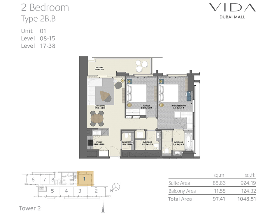 2 Bedroom Type 2B.B Unit 01 Level : 08-15 Level : 17-38