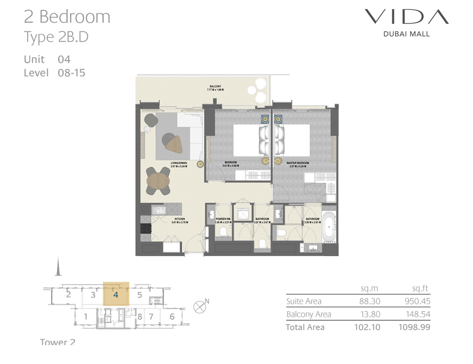 2 Bedroom Type 2B.D Unit 04 Level : 08-15
