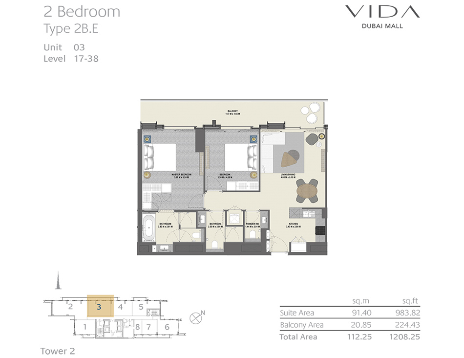 2 Bedroom Type 2B.E Unit 03 Level : 17-38