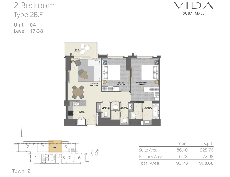 2 Bedroom Type 2B.F Unit 04 Level : 17-38