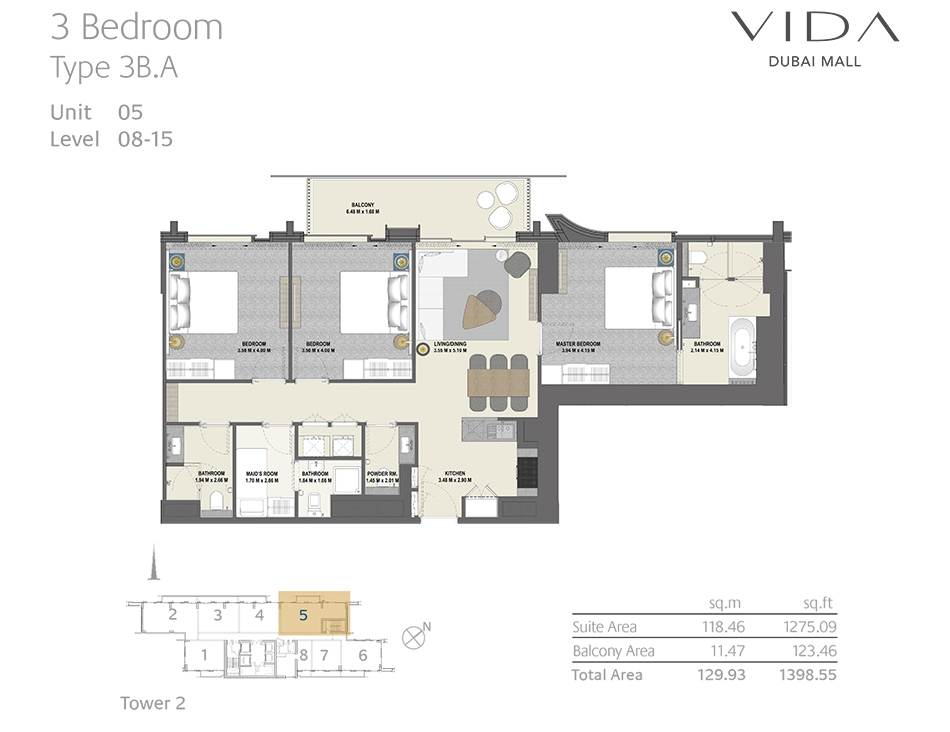 3 Bedroom Type 3B.A Unit 05 Level : 08-15