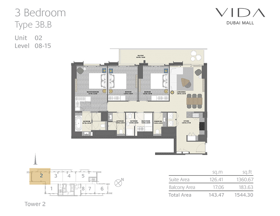 3 Bedroom Type 3B.B Unit 02 Level : 08-15