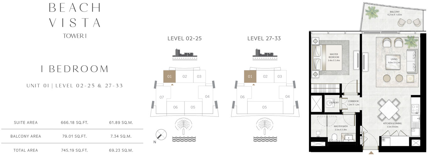 Tower 1 - 1 Bedroom-Size-745.19 Sq.ft